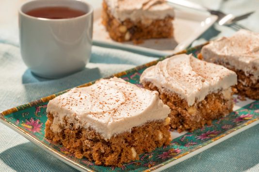 Chai Carrot Cake Squares with Spiced Frosting