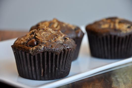 Peanut Butter Swirl Chocolate Cupcakes